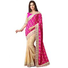 Pink and Cream Georgette #Saree With #Blouse #Fashion #Clothing
