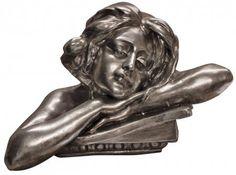 Silver Large Lady Bust Figure Ornament / Sculpture