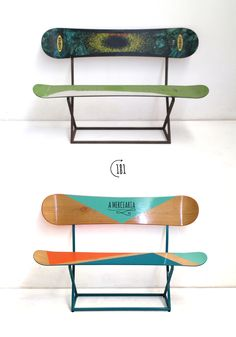 Bench made of snowboard boards