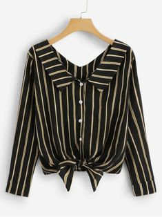 Casual Button and Knot Striped Shirt Regular Fit Collar Long Sleeve Placket Black Vertical Striped Knotted Hem Shirt Girls Fashion Clothes, Fashion Outfits, Clothes For Women, Blouse Styles, Blouse Designs, Trendy Outfits, Cute Outfits, Western Tops, Skirt Outfits