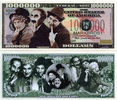 The Marx Brothers Million Dollar Novelty Money
