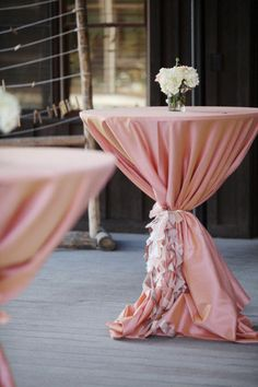 Set of 4 Cocktail table /High Boy table Curly Sashes CUSTOMIZED to your event on Etsy, $48.00