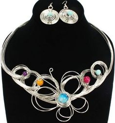 Butterfly in Spring wire necklace set $24.99 Silver only.