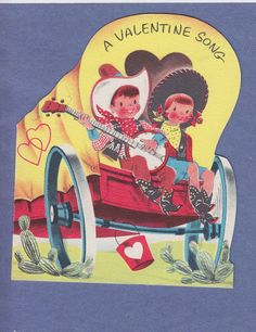 Vintage Norcross Valentine with a little cowboy and cowgirl in a covered wagon.