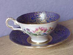 Antique tasse à thé bleu Royal Stafford tasse de par ShoponSherman