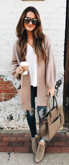 #winter #outfits blue jeans; gray cardigan; white v-neck top