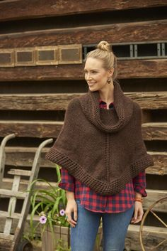 Getaway Poncho by Melissa LaBarre from Weekend Wraps: 18 Quick Knits Cowls, Scarves & Shawls by Cecily Glowik MacDonald and Melissa LaBarre #knittedponcho #knittingpatterns #beroccoperuviaquick #beginnerknits