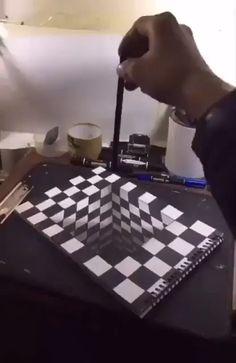 videos drawing Incredible DIY Illusions & More! Really Cool Drawings, Art Drawings Sketches Simple, Art Drawings For Kids, Pencil Art Drawings, Easy Drawings, Illusion Kunst, Illusion Drawings, 3d Illusion Art, Illusion Paintings