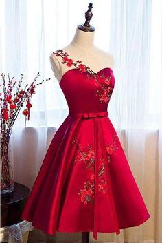 Elegant A-Line Red Prom Dresses Lace Short Homecoming Dresses · PeachGirlDress · Online Store Powered by Storenvy Simple Dresses, Pretty Dresses, Sexy Dresses, Beautiful Dresses, Short Dresses, Fashion Dresses, Prom Dresses, Formal Dresses, Homecoming Dresses Knee Length