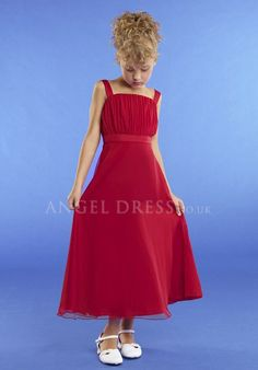Chiffon A line Square Sleeveless Tea Length Empire Junior Dress With Ruching