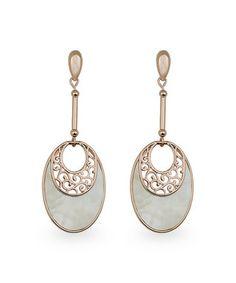 Mother-of-Pearl & Rose Goldtone Filigree Oval Drop Earrings