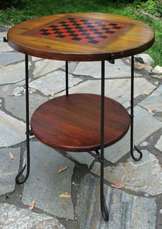 Checker board game table of wood, multi-color stain, and iron. Father's Day Gift, maybe? on Etsy, $225.00