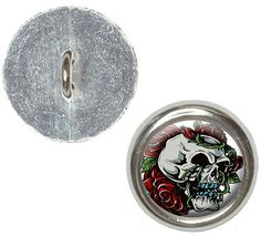 Fancy and Decorative {16mm w/ 1 Back Hole} 4 Pack of Medium Size Round 'Alpha Shank' Sewing and Craft Buttons Made of Genuine Metal w/ Edgy Vines and Roses Skull Design {Silver, White, Red, Black and Green} >>> Click image to review more details.