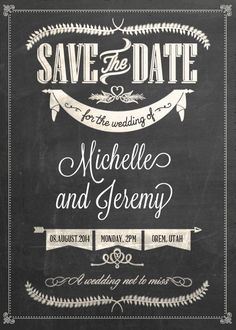 FREE PDF Download. Stylish Chalkboard Save the Date. Easy to edit and print. For customizations: printableinvitationkits[at]gmail[dot]com