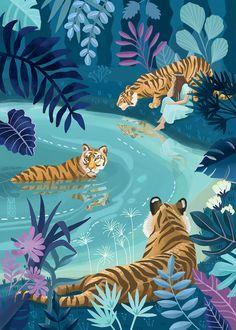 I'm Asia, a freelance digital illustrator. I enjoy translating everyday life observations into colorful language of art. I do editorial illustration work, also sell my own art. Pop Art, Jungle Illustration, Watercolor Illustration, Illustration Botanique, Jungle Art, Tiger Art, Art Drawings, Art Inspo, Illustrations