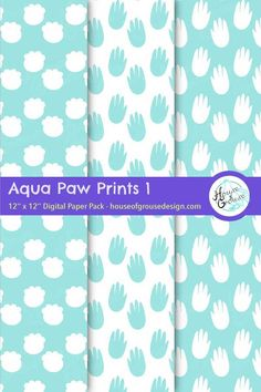 Monochrome aqua blue and white animal paw print patterns. Printable background patterns with hippo feet, beaver claws, and more! By House of Grouse Design, the cutest digital scrapbooking warehouse. #monochrome #aqua #white #animal #pawprint #footprint #cat #bird #cow #beaver #hippo #horse #horseshoe #pattern #printable #background #scrapbooking #houseofgrouse Paw Print Background, Scrapbook Background, Background Patterns, Pattern Designs, Retro Pattern, Print Patterns, Origami Patterns, Pawprint, Monochrome Pattern