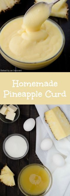 This homemade Pineapple Curd is sweet, creamy, and so easy to make. It takes just a few minutes to whip up this bright, tangy filling. This bright and buttery pineapple curd is a delicious filling for cakes, cupcakes, sweet rolls, and tarts. You'll be happy you made this once you give it a try! #curd #pineapple #filling