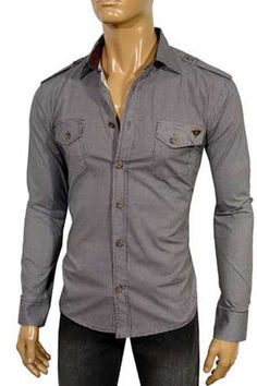 Mens Designer clothing | PRADA Dress Slim Fit Shirt #42 $139.99