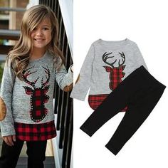Children Clothing 2018 Autumn Winter Girls Clothes Christmas Outfit Kids Clothes Girls Sport Suit For Girls Clothing Sets Baby Outfits, Kids Outfits Girls, Trendy Outfits, Stylish Shirts, Baby & Toddler Clothing, Toddler Girl, Children Clothing, Clothing Sets, Baby Boys