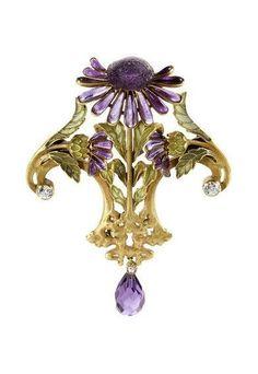 Gabriel Falguieres Fabulous French Art Nouveau Brooch.