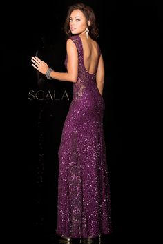 Scala 48467 fully sequined gown with illusion sides and low back. 37523a7d1