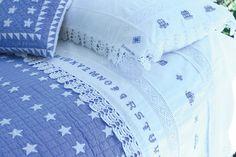 Judi Boisson Alphabet Cross-Stitch Luxury Linens in Cornflower Blue/White Periwinkle Blue, Love Blue, Blue And White, Linen Bedroom, Bedroom Decor, Linens And Lace, White Linens, White Cottage, Blue Bedding