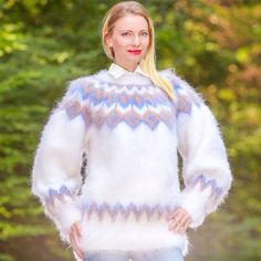 WHITE BLUE Hand Knitted Mohair Sweater Icelandic Fluffy Jumper SUPERTANYA S M L #SuperTanya #Crewneck