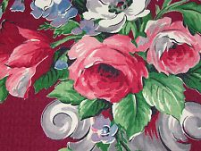 30s Summer on the Cape Cottage Urns of Roses VTG Barkcloth Fabric Curtain Drape