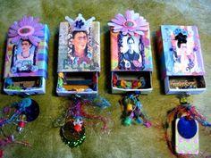 Frida Kahlo matchbox shrines by yesh