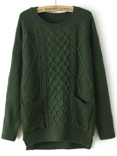 Green Round Neck Pockets Cable Knit Sweater , 40% Off 1st Order