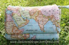 neceser guarda pañales y toallitas húmedas para los bebes, loneta mundo. www.ilusionesdetrapo.wordpress.com