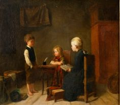 """Interiör med barn vid bord / Interior with children at table"". Amanda Sidwall (1844-1892), Swedish painter."