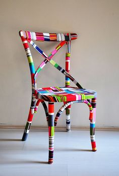 colorful painted dining chair #painted #furniture