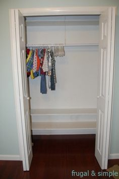 Blake closet idea to build on - fill shelves with light bins - easy for little hands to pick up and keep orgnanized