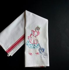 Hand embroidered tea towel, embroidered kitchen towel, dishtowel, vintage embroidery, modern embroidery