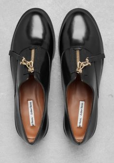 zip up leather brogues
