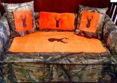 Saftey orange Brown buck Realtree camo baby bedding for your nursery