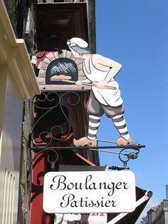 Shop sign of a bakery in Vannes, France.  Vannes is a commune in the Morbihan department in Brittany in north-western France. It was founded over 2000 years ago