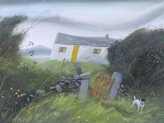 Cottage with a Yellow Door  Inishbofin Dorset painter Nicholas Hely Hutchison