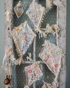 Today it's all about pretty colors and happy mail.zoom in on the sweet envelope, top left, from my IG friend Sharon She… Shabby Chic Crafts, Vintage Crafts, Upcycled Vintage, Shabby Chic Decor, Vintage Decor, Vintage Sewing, Vintage Linen, Fabric Art, Fabric Crafts