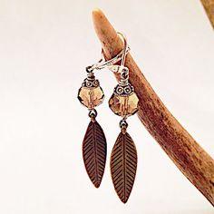Smoky Quartz Bronze Feather Earrings
