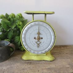 Vintage Pelouze Kitchen Kitchenette Utility Scale Yellow White Farmhouse Cottage Shabby Chic Fixer Upper
