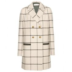 Tory Burch Plaid Wool-Blend Coat found on Polyvore featuring outerwear, coats, jackets, coats & jackets, black, tory burch, tartan coat, wool blend coat, tory burch coat and plaid coat