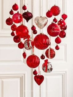 Recycle your Christmas ornaments into a Valentine's Heart.
