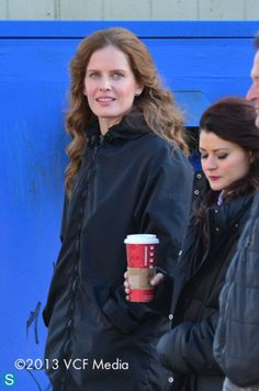 Rebecca Mader and Emilie De Ravin on the set of Once Upon A Time