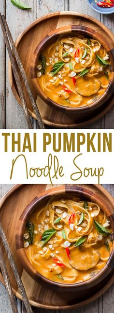 Creamy, comforting spicy thai curry pumpkin noodle soup ready in 20 minutes and takes you back to Thailand!