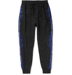 Haider Ackermann Slim-fit Tapered Embroidered Loopback Cotton-jersey Sweatpants In Black Mr Porter, Haider Ackermann, Designer Clothes For Men, Dj Fresh, Designer Menswear, Raincoat, Bomber Jacket, Sweatpants, Man Shop