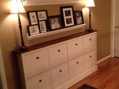 This week, I want to talk about something that I need to do, that is my shoe cabinets decor. My shoe cabinets are the HEMNES by Ikea. Ikea Diy, Home Projects, Interior, Hallway Storage, Ikea, Home Decor, Ikea Decor, Hemnes Shoe Cabinet, Ikea Shoe Cabinet