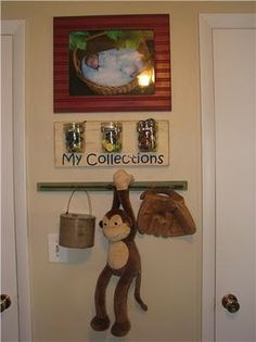 "Mason Jar Storage (mounted on scrap wood) for kids ""collections""...no more pine cones, rocks, shells and rubber bands 'displayed' on top of dressers."