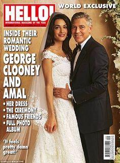 Todos os detalhes foram reproduzidos pelo ilustrador, como a mão de Clooney na cintura de Amal Foto: © HELLO MAGAZINE
